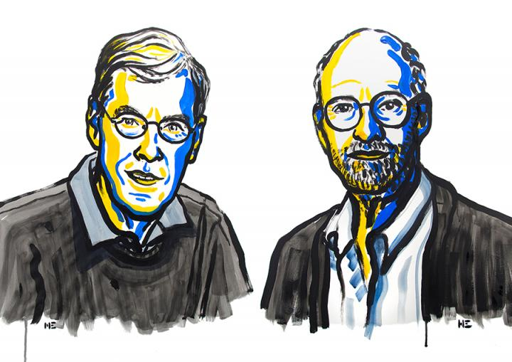 Nobel Prize illustrations of Richard Henderson and Michael Rosbash