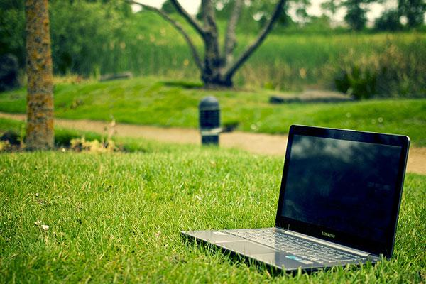 laptop in woods Pixabay CC0