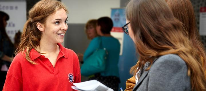Open Dat student ambassador talks to attendees