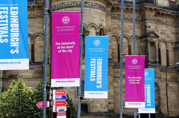 McEwan Hall with banners during the festivals 2018