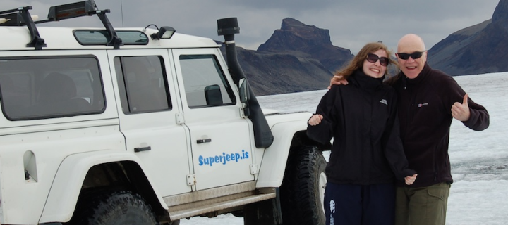 Paul Thompson and daughter in Iceland