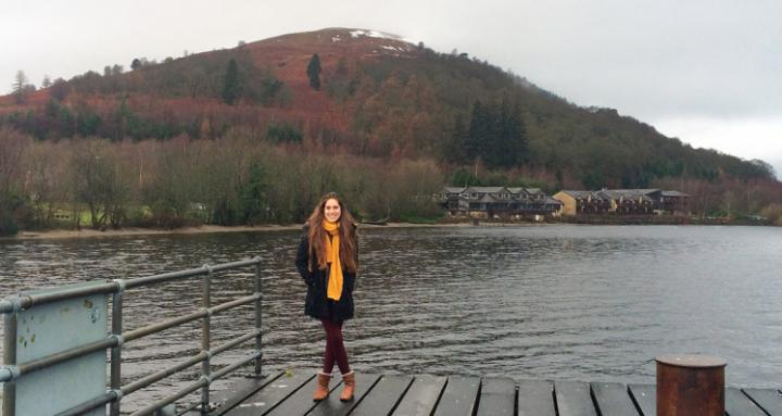 Paula, an undergraduate student from Argentina, in the Scottish Highlands