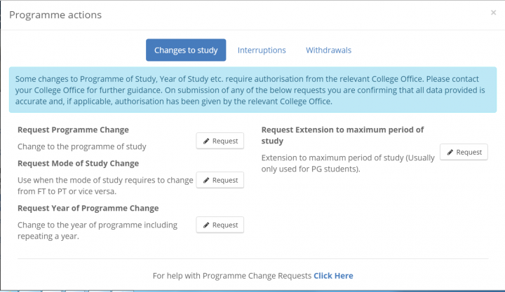 Programme action requets changes to study
