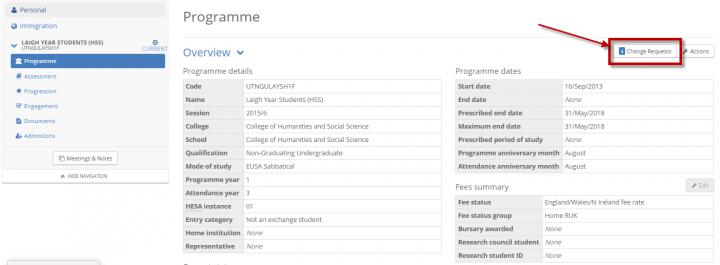 Programme Change Request form location – Student Request Form