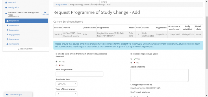 request change of study change form