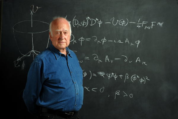 Professor Emeritus Peter Higgs with the Higgs Boson equation.