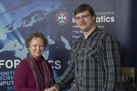 Andrius Ziukas receives his Google prize for Best Phase 1 Project in MInf Programme from Prof Johanna Moore
