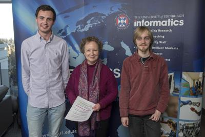 Prize winners Craig Walton (left) and Thomas Kerber (right) with Head of School, Prof Johanna Moore