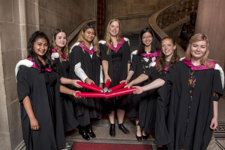 Group of Edinburgh current students who accepted posthumous degrees on behalf of the Edinburgh Seven.