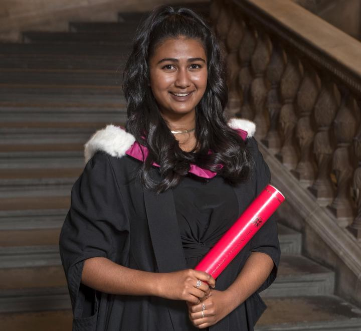 Current medical student Sorna Paramananthan accepting a posthumous degree on behalf of the Edinburgh Seven