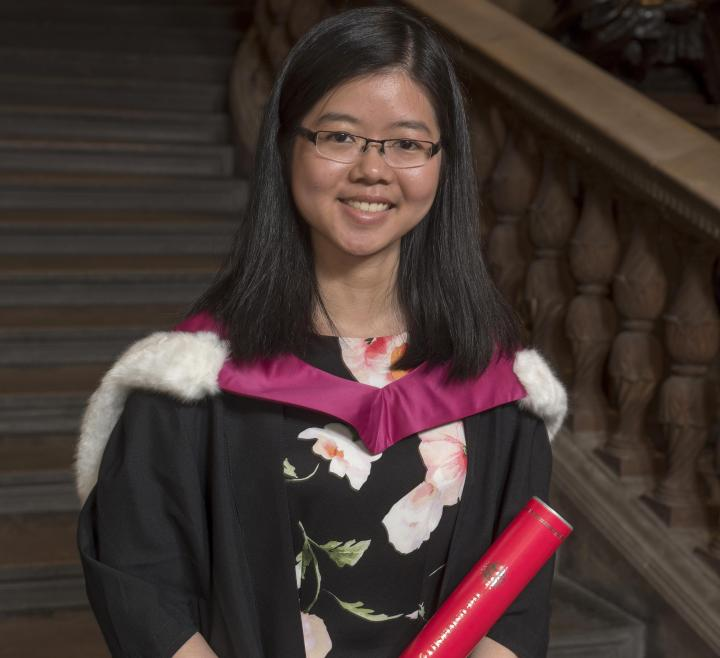 Current student Mei Yen Liew accepting a degree on behalf of the Edinburgh Seven.