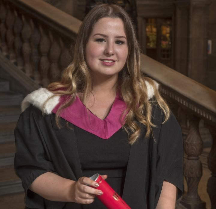 Current student Megan Cameron accepting a degree on behalf of the Edinburgh Seven.
