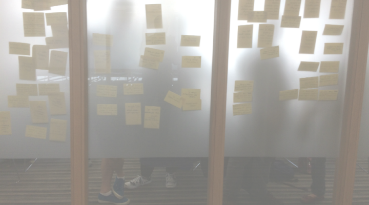 Putting up post its during persona creation session