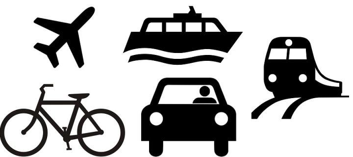Plane, boat, bike, car, train icons