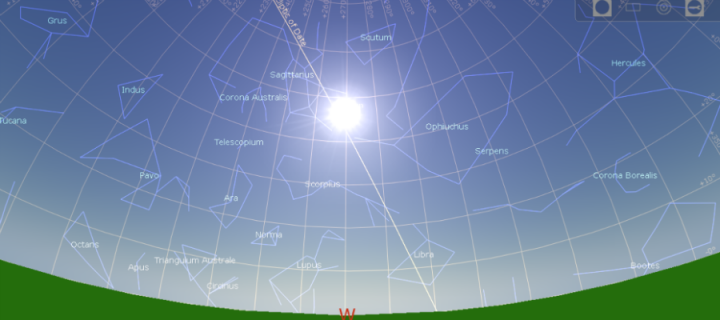 Position of the sun and stars in the 10950BC summer solstice