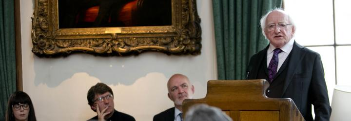 President Higgins addresses the event