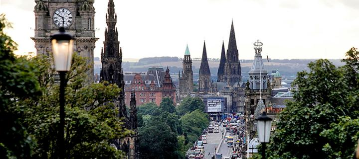Aerial shot of Princes Street