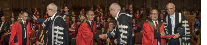 Images of Professor Song receiving his Honorary degree