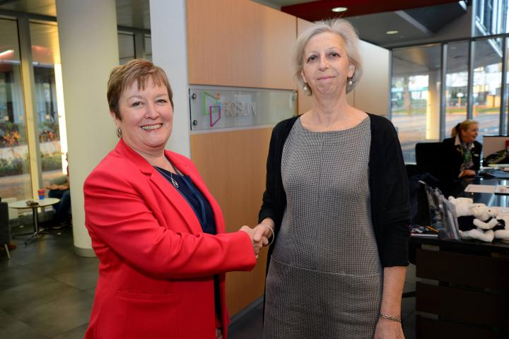 Rhoda Grant MSP is greeted by Professor Eleanor Riley at arrival at The Roslin Institute