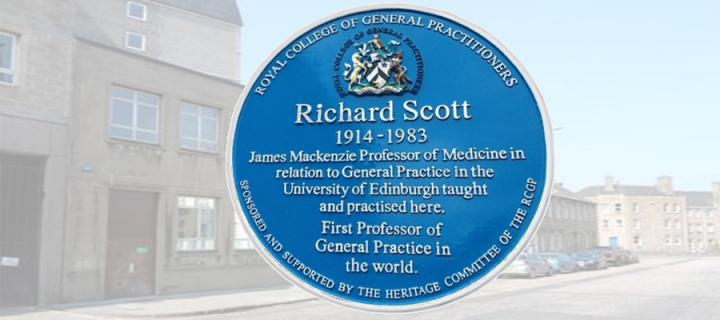 A blue plaque celebrating the life of Dr Richard Scott