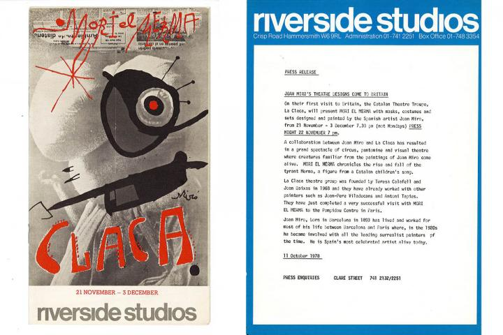Left: Riverside Studios programme. Right: Riverside Studios press release for Mori el Merma.
