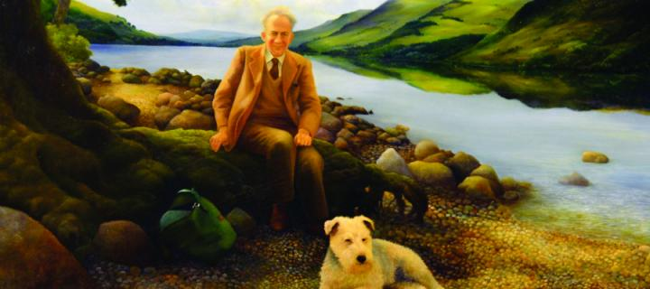 Portrait of Robert O Curl and his dog Frisky