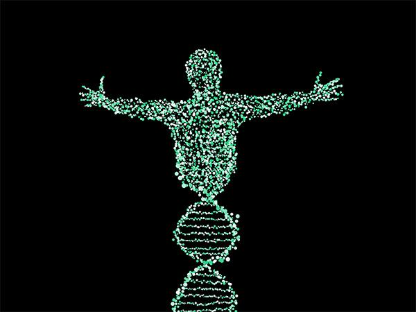 Illustration of a DNA stranding forming into the shape of a person with outstretched arms.