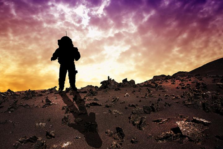 Artist impression of astronaut on Mars