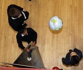 School children from above