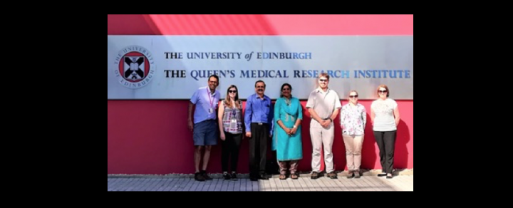 Two visiting doctors from Aravind Eye Care System, Madurai, India, stand outside QMRI with Prof Kev Dhaliwal and Dr Beth Mills