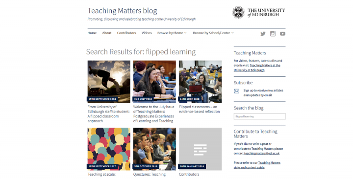screengrab Teaching Matters blog