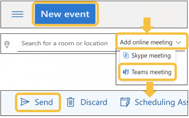 Image showing scheduling a teams meeting in outlook (browser)