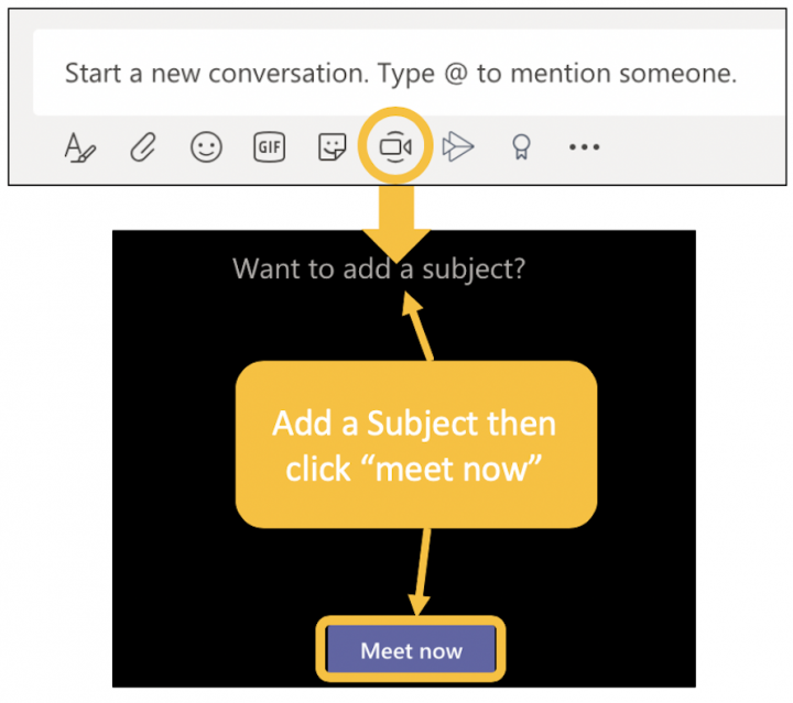 Image showing how to meet now in Teams