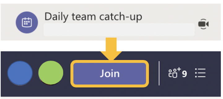 Image showing how to join a teams meeting from your Chat space