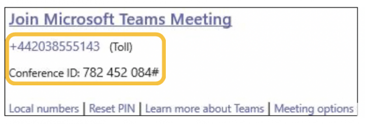 Image of how the audio conferencing telephone number and id appear in meeting invites