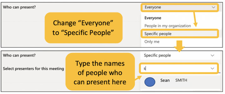 Image showing how to change the who can present setting in Teams meetings