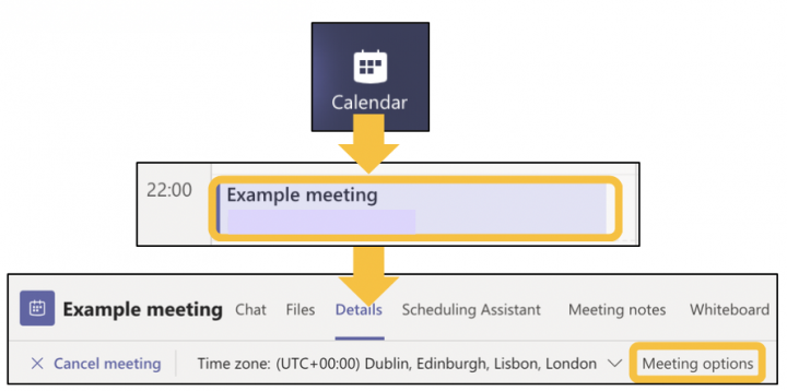 Image showing how to access Teams meeting options