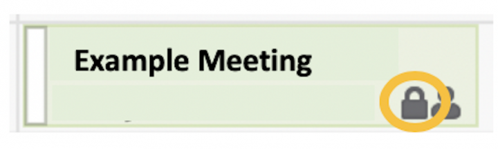 Image of the padlock showing a meeting is set to private in Outlook