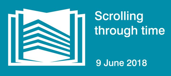 A graphic of the Main Library to promote Scrolling through time on 9th June