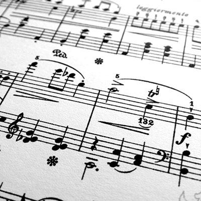 Black and white photo of printed sheet music