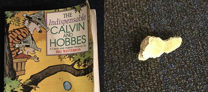 Cover of 'The Indispensible Calvin and Hobbes' by Bill Watterson and an alleged piece of the Berlin Wall.