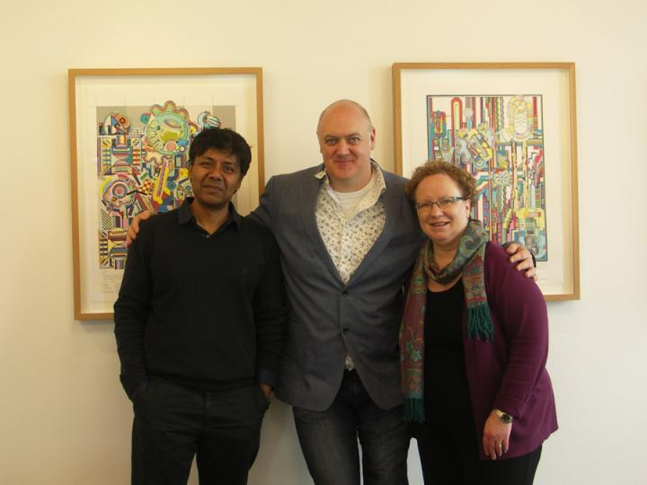 Sethu Vijayakumar, Dara Ó Briain and Head of School Professor Johanna Moore