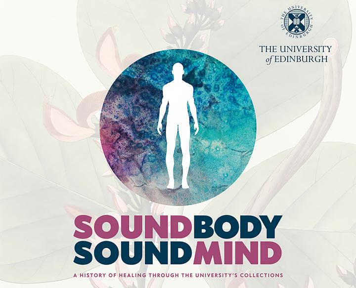 advertisement for Sound Body Sound Mind exhibition with the white outline of a human figure against a blue coloured backdrop