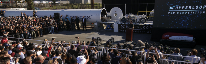 Elon Musk at SpaceX Hyperloop Pod Competition.