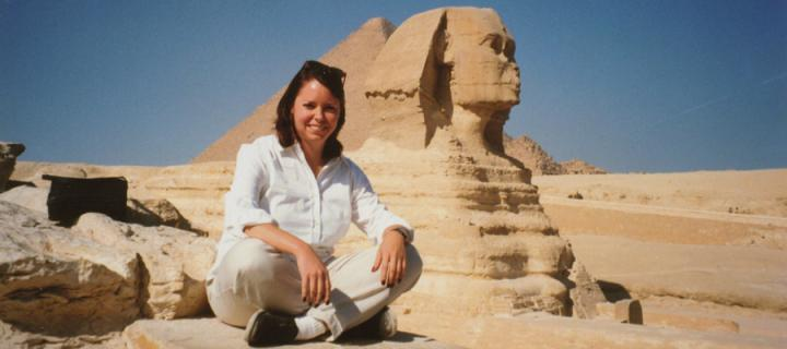 Stasha Healy with a Sphinx in the background