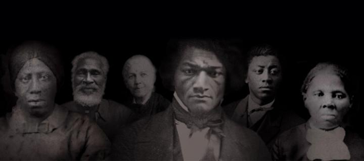 Montage photo of Anna Murray Douglass, Josiah Henson, Harriet Ann Jacobs, Frederick Douglass, Frederick Douglass Jr, and Harriet Tubman