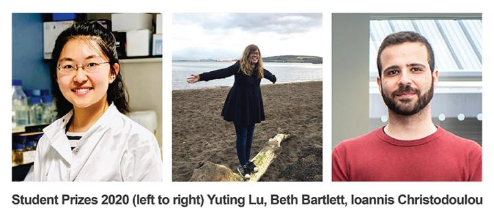 images of Yuting Lu, Ioannis Christodolou, Beth Bartlett, MRC HGU student prize winners
