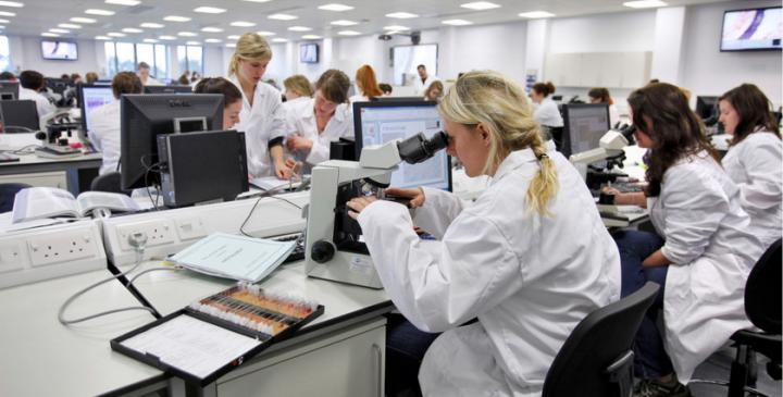 Female students in the lab looking in microscopes