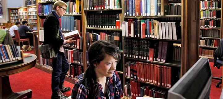 Students in the library at New College