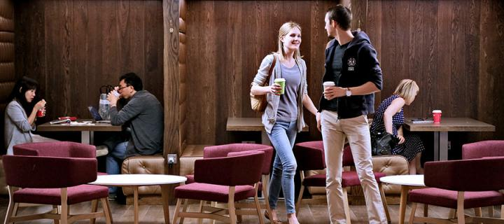 Photo of students in the café at David Hume Tower